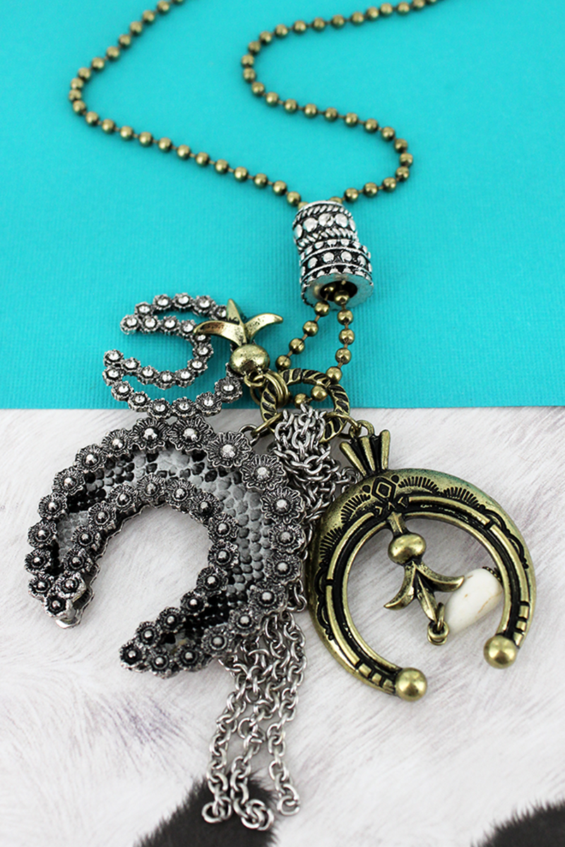 Two-Tone and Snakeskin Naja Cluster Pendant Necklace