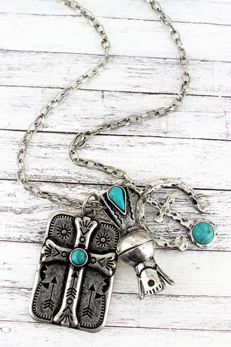 Turquoise Beaded Silvertone Cross Triple Pendant Necklace