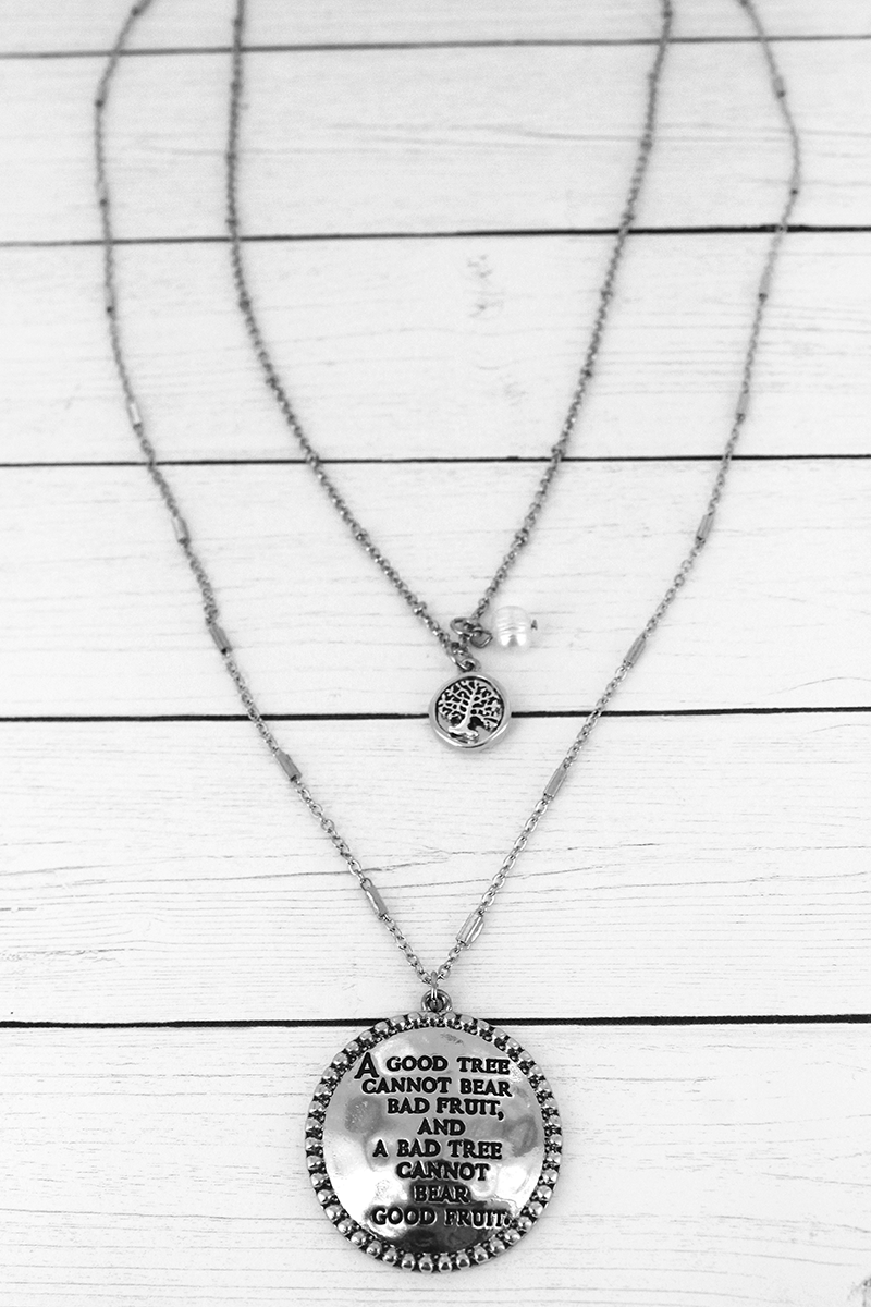 Silvertone Tree Of Life Disk Pendant Layered Necklace