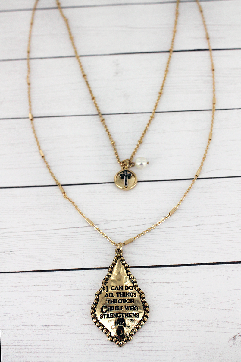 Goldtone Philippians 4:13 Moroccan Teardrop Pendant Layered Necklace