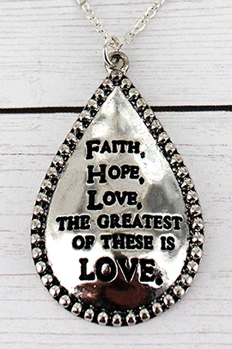 Silvertone 'Faith Hope Love' Teardrop Pendant Layered Necklace