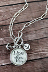 Silvertone 'Hope Lives Here' Bubble Charm Pendant Necklace
