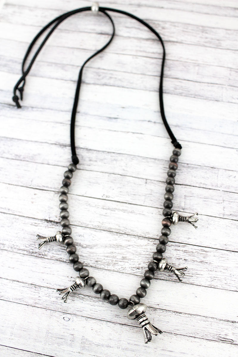 Burnished Silvertone Squash Blossom Charm Beaded Cord Necklace