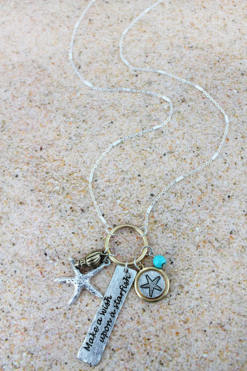 Two-Tone 'Wish Upon A Starfish' Charm Pendant Necklace