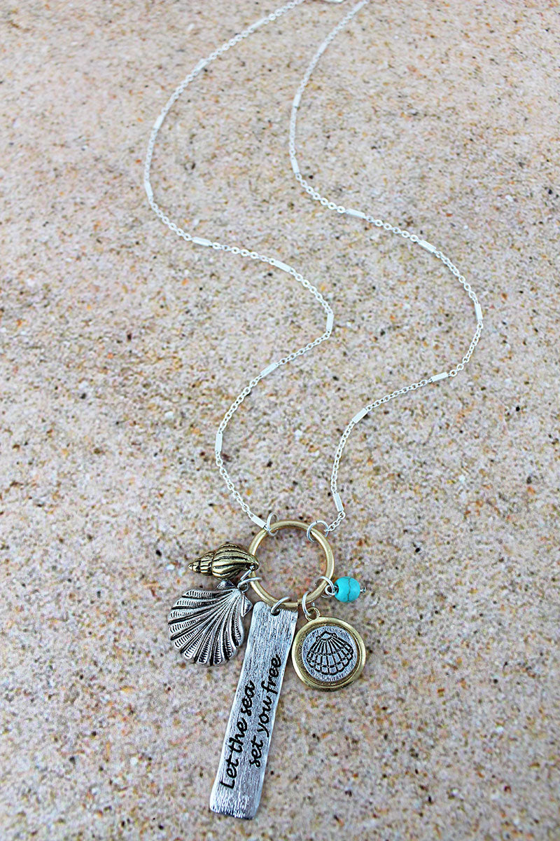 Two-Tone 'Let The Sea Set You Free' Charm Pendant Necklace
