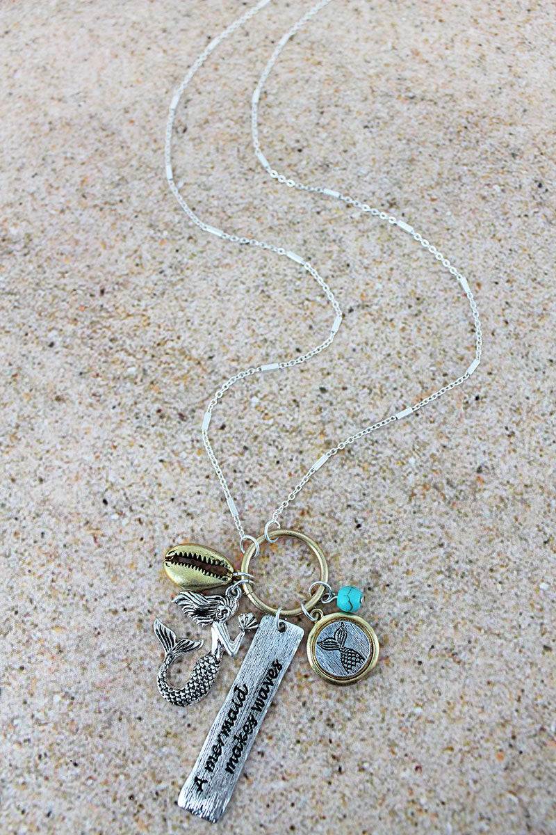 Two-Tone 'A Mermaid Makes Waves' Charm Pendant Necklace