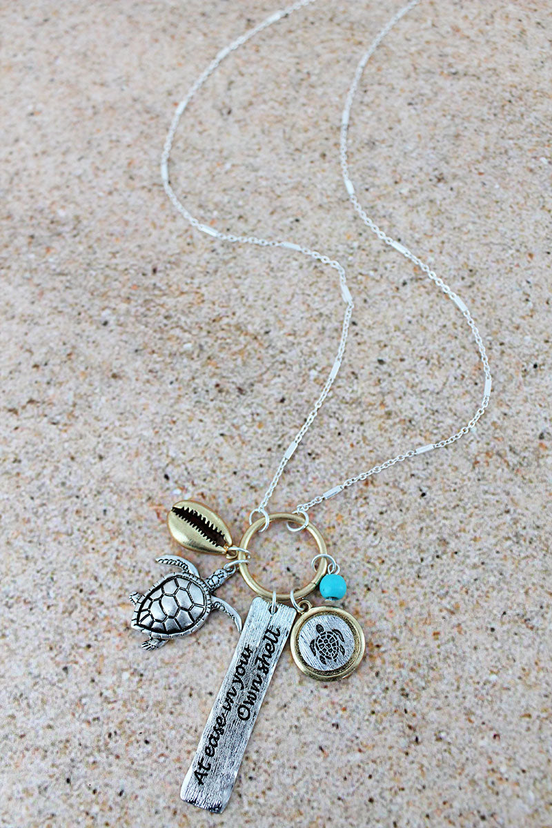 Two-Tone 'In Your Own Shell' Charm Pendant Necklace