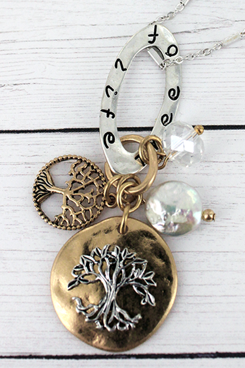 Two-Tone 'Tree Of Life' Cluster Pendant Necklace