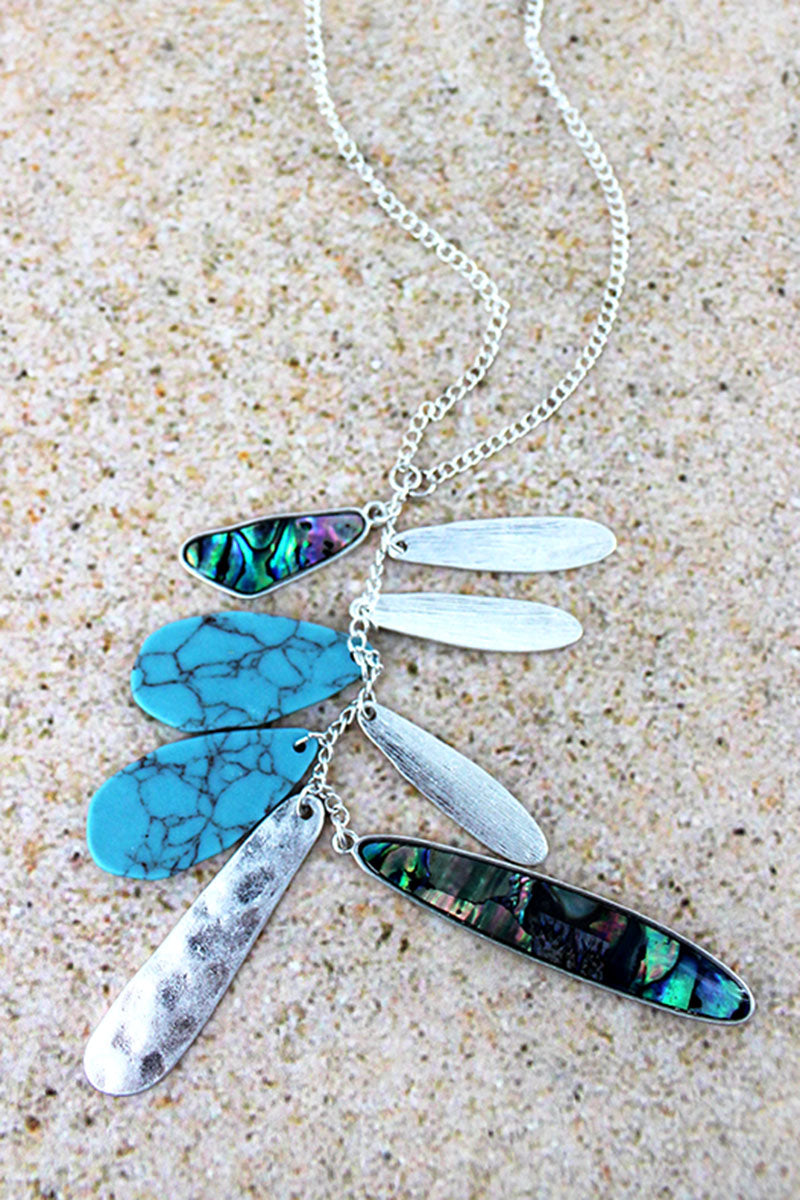 Abalone, Silvertone, and Turquoise Cascading Pendant Necklace