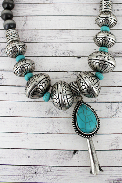 Silvertone and Turquoise Squash Blossom Navajo Pearl and Western Bead Necklace