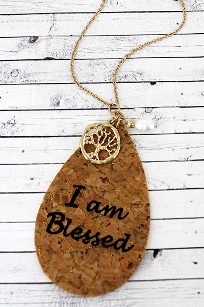 Cork and Goldtone 'I Am Blessed' Teardrop Charm Pendant Necklace