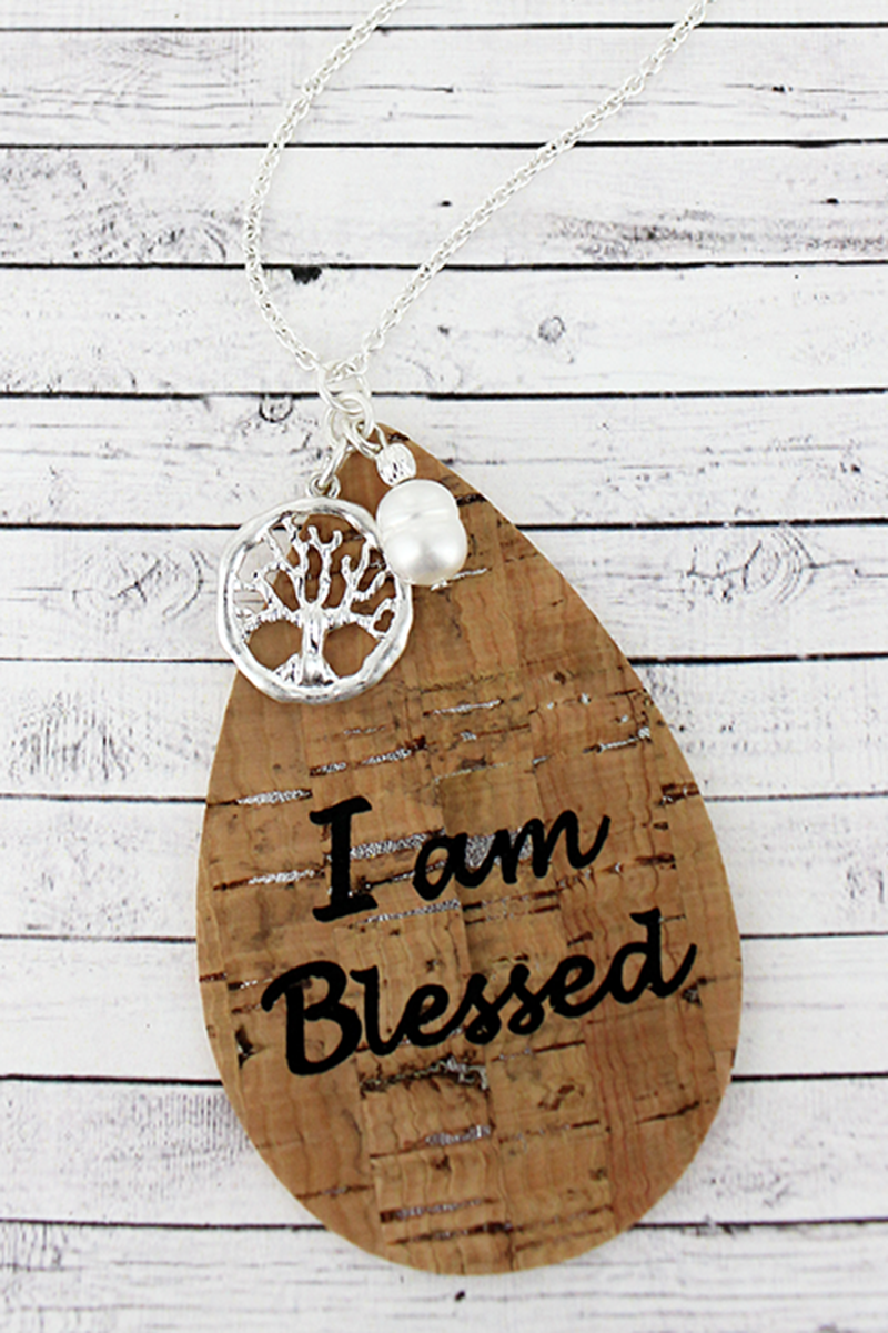 Cork and Silvertone 'I Am Blessed' Teardrop Charm Pendant Necklace