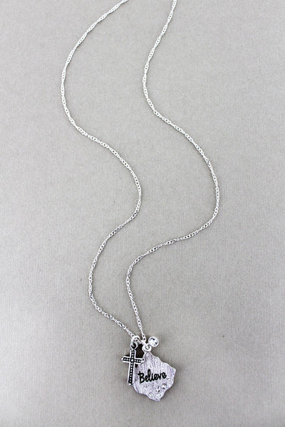 Crystal Accented Silvertone 'Believe' Diamond & Cross Pendant Necklace