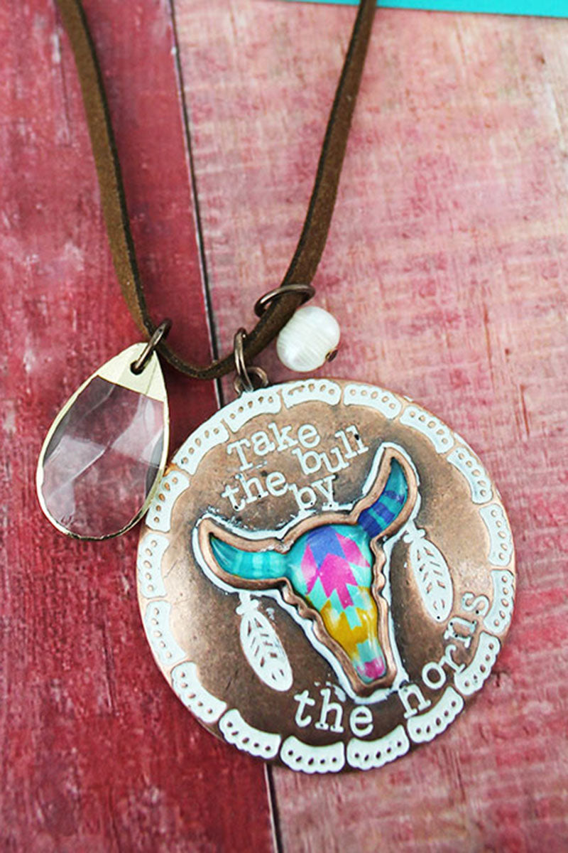 Two-Tone Western Steer 'By The Horns' Cluster Pendant Light Brown Cord Necklace
