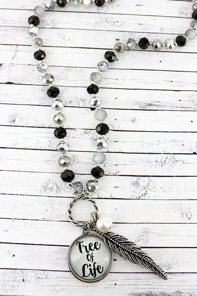 Leaf & 'Tree Of Life' Bubble Pendant Monochrome Beaded Necklace