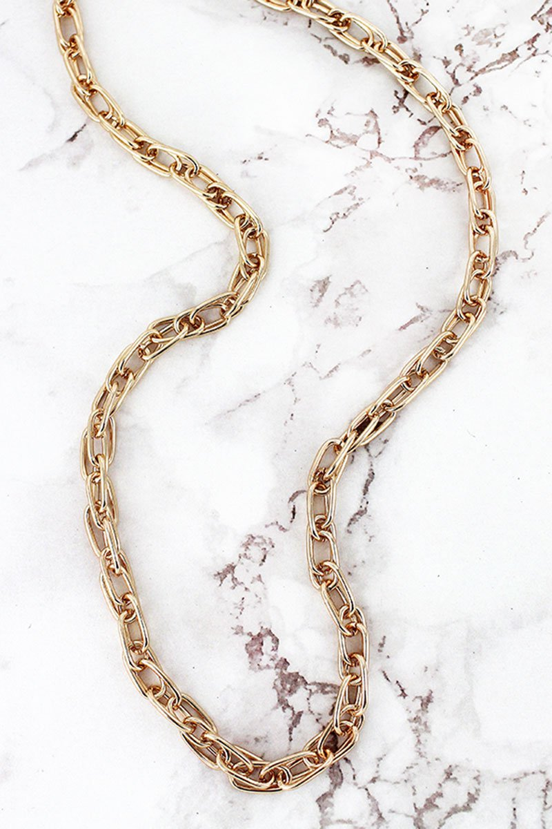 Goldtone Overlapping Oval Link Chain Necklace