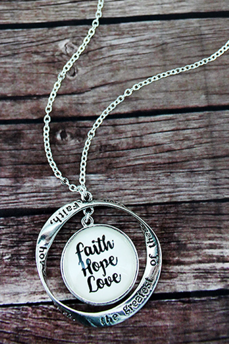 Silvertone Twist and 'Faith, Hope and Love' Bubble Pendant Necklace
