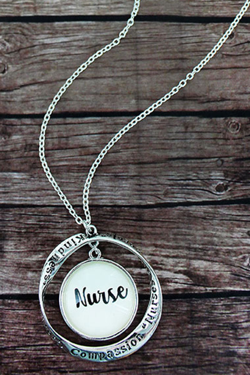 Silvertone Twist and 'Nurse' Bubble Pendant Necklace