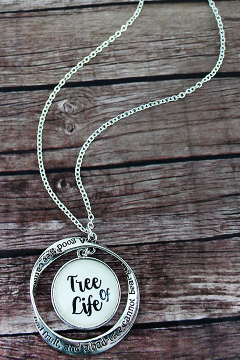 Silvertone Twist and 'Tree of Life' Bubble Pendant Necklace