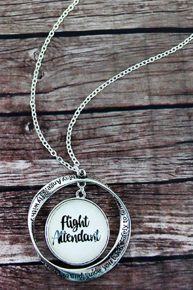 Silvertone Twist and 'Flight Attendant' Bubble Pendant Necklace