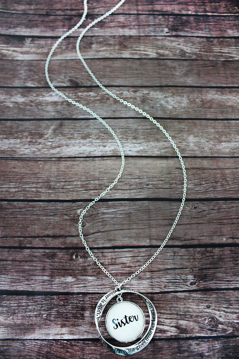 Silvertone Twist and 'Sister' Bubble Pendant Necklace