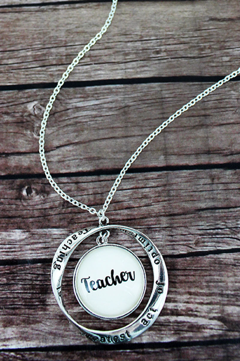 Silvertone Twist and 'Teacher' Bubble Pendant Necklace