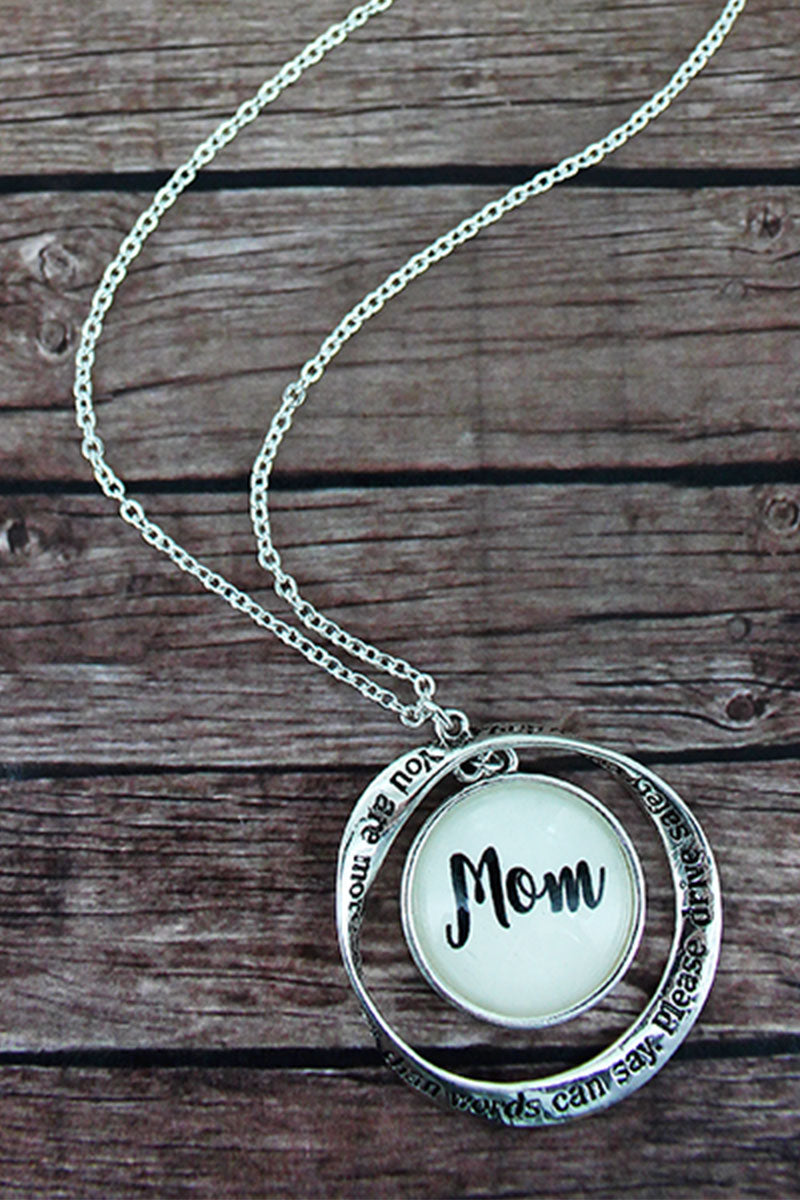 Silvertone Twist and Mom' Bubble Pendant Necklace