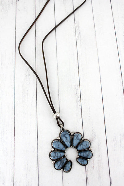 Steel Blue Stone Beaded Naja Pendant Cord Necklace