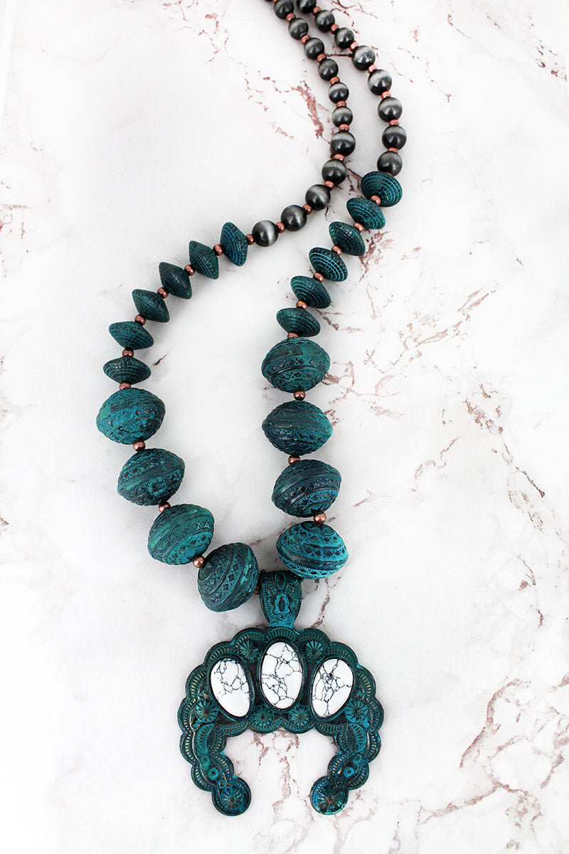 Patina and White Naja Chunky Western Bead Necklace