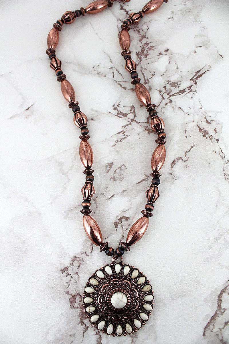 White Beaded Coppertone Medallion Pendant Western Beaded Necklace