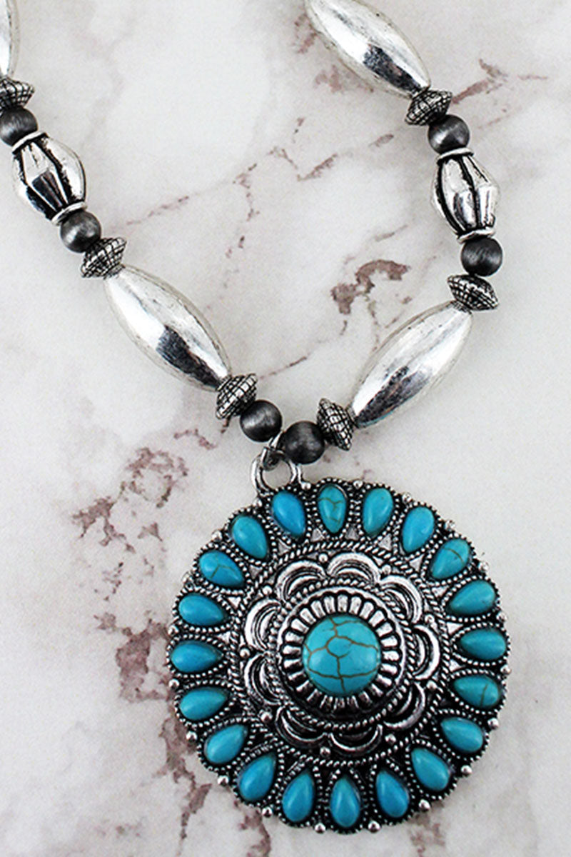 Turquoise Beaded Silvertone Medallion Pendant Western Beaded Necklace