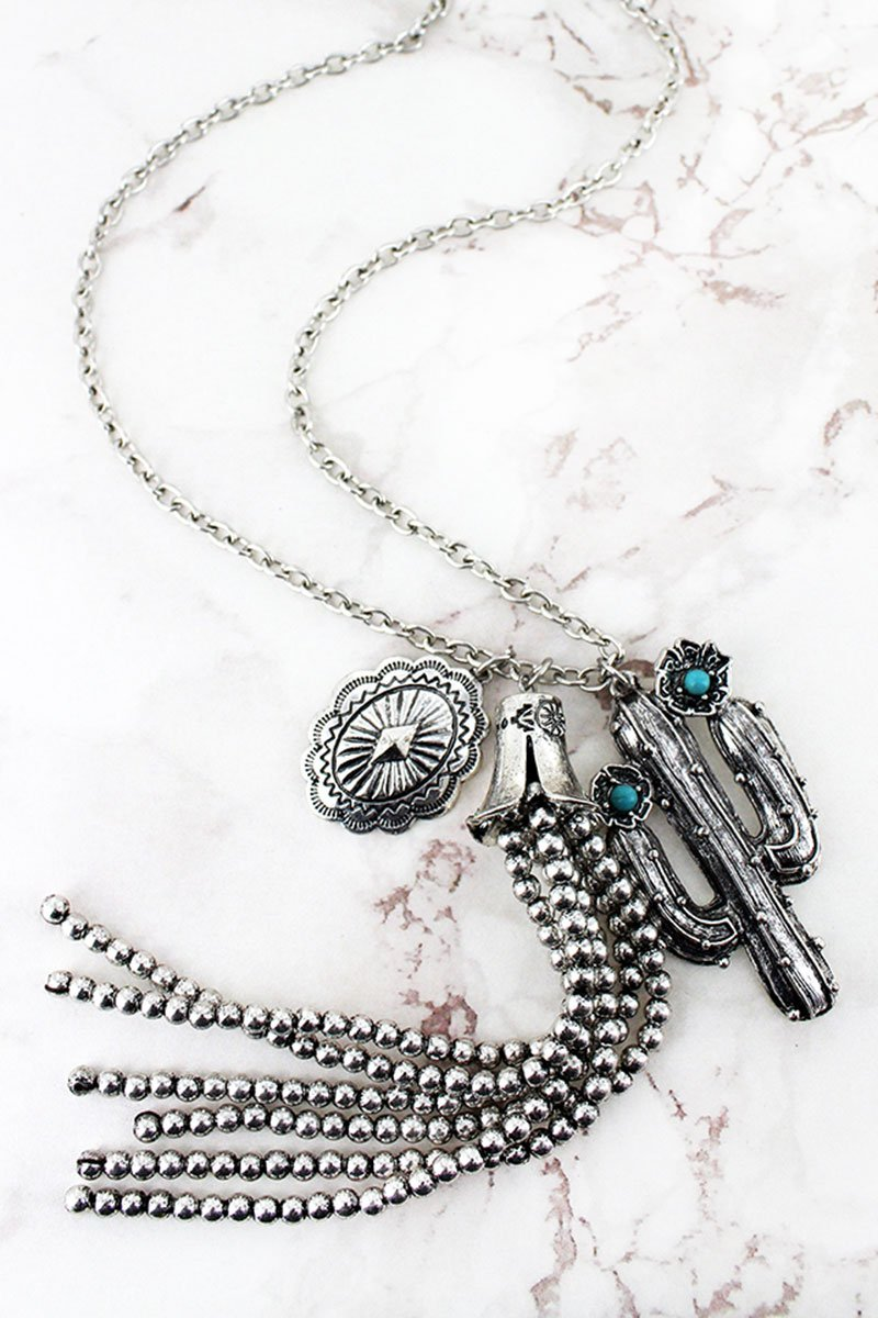 Turquoise Beaded Silvertone Floral Cactus & Tassel Pendant Necklace