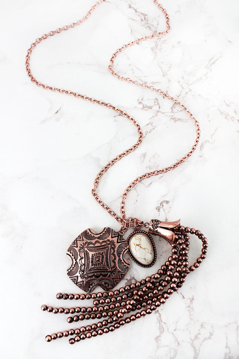 Coppertone Western Engraved Square Cross & Tassel Pendant Necklace