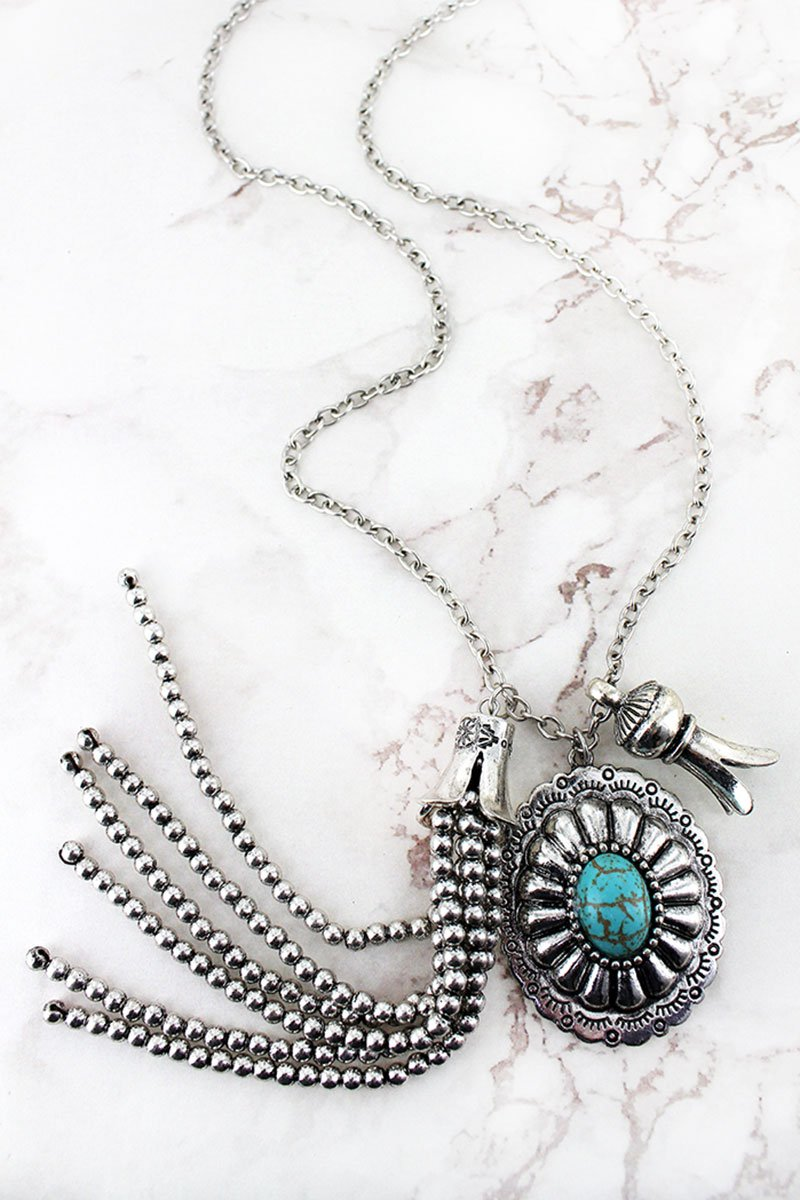 Turquoise Beaded Silvertone Concho & Tassel Pendant Necklace