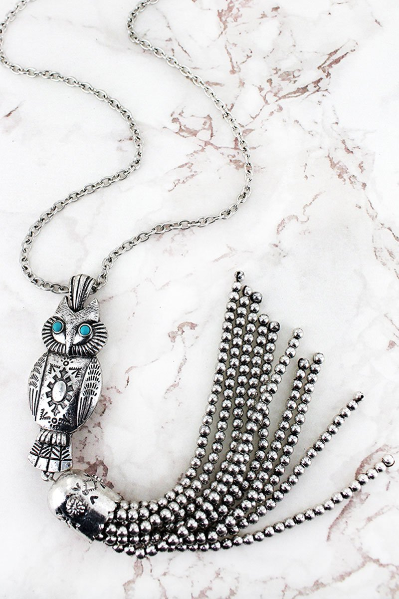 Turquoise Beaded Silvertone Owl Tassel Pendant Necklace