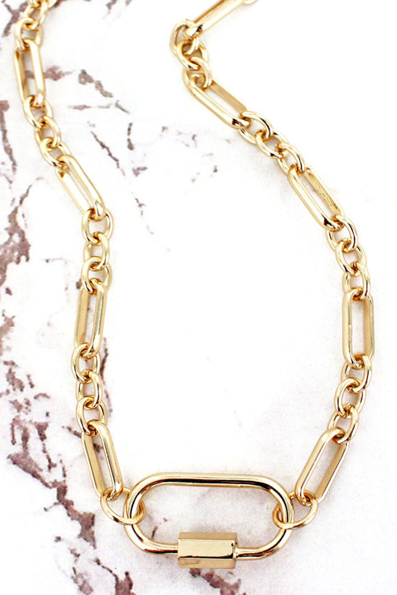Goldtone Carabiner Chain Necklace