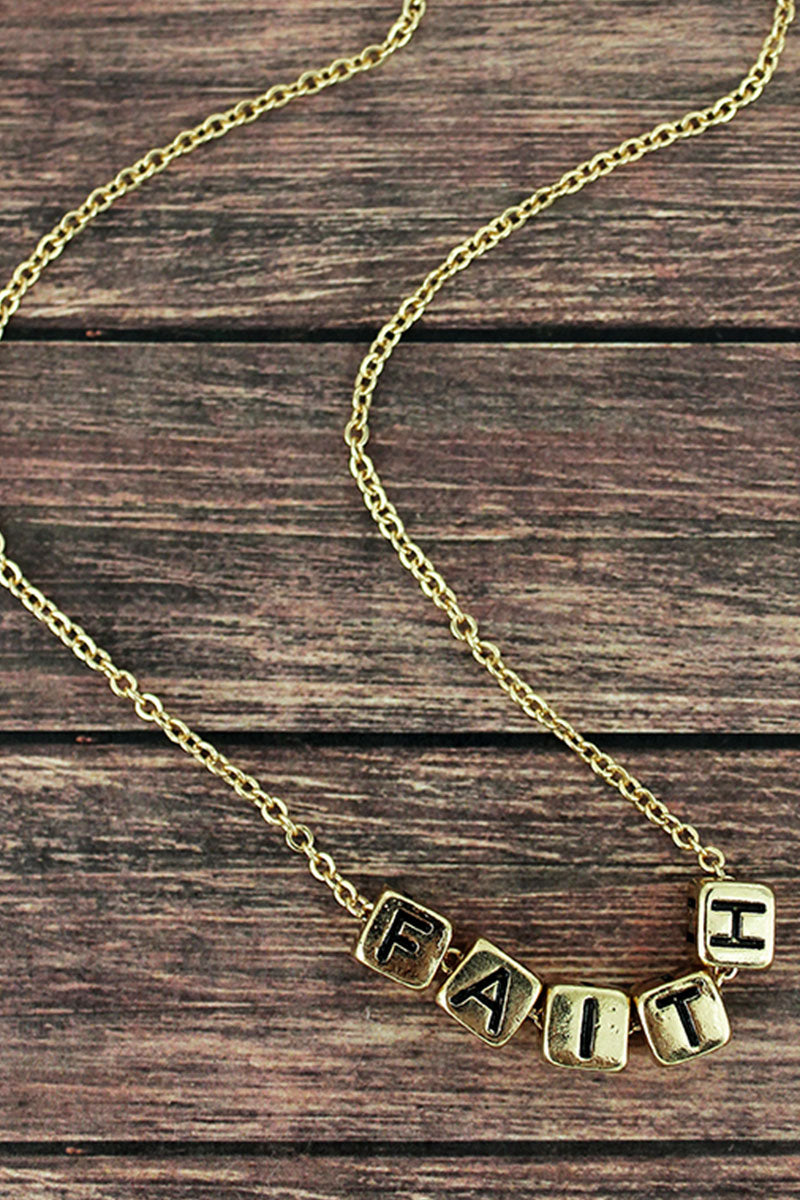 Goldtone 'Faith' Block Letter Necklace