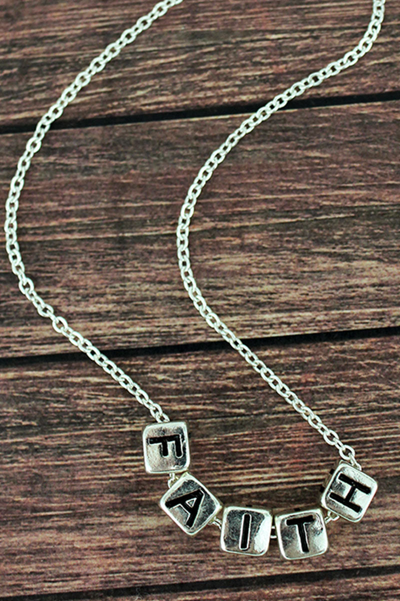 Silvertone 'Faith' Block Letter Necklace