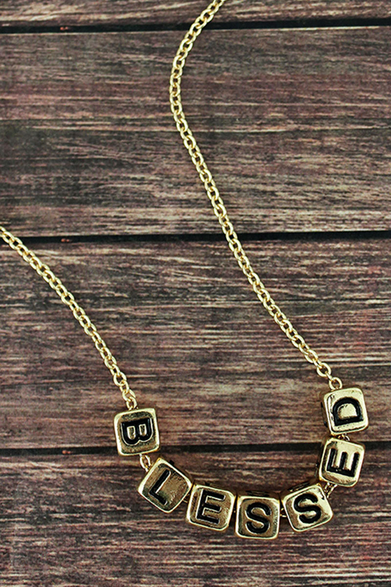 Goldtone 'Blessed' Block Letter Necklace