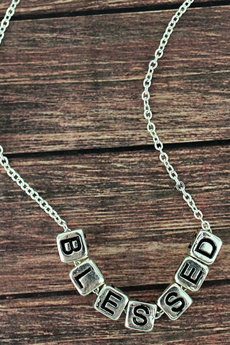Silvertone 'Blessed' Block Letter Necklace