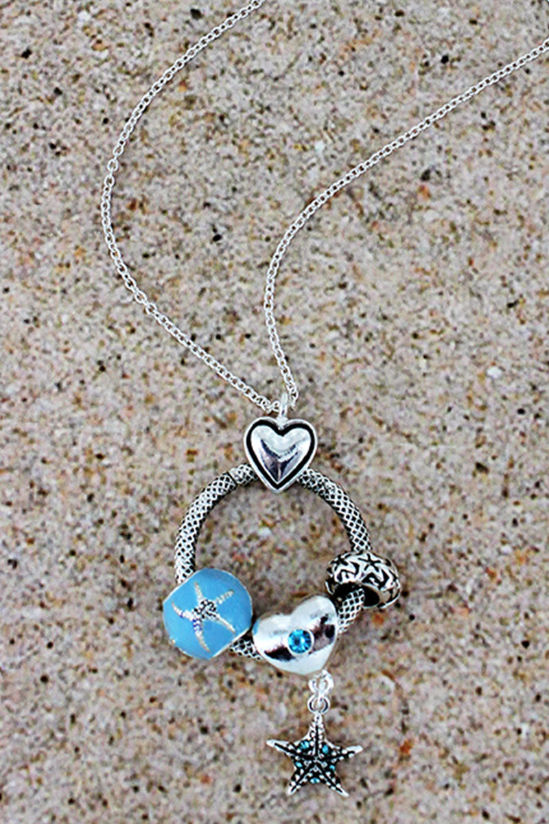Silvertone and Blue Starfish Beaded Ring Pendant Necklace