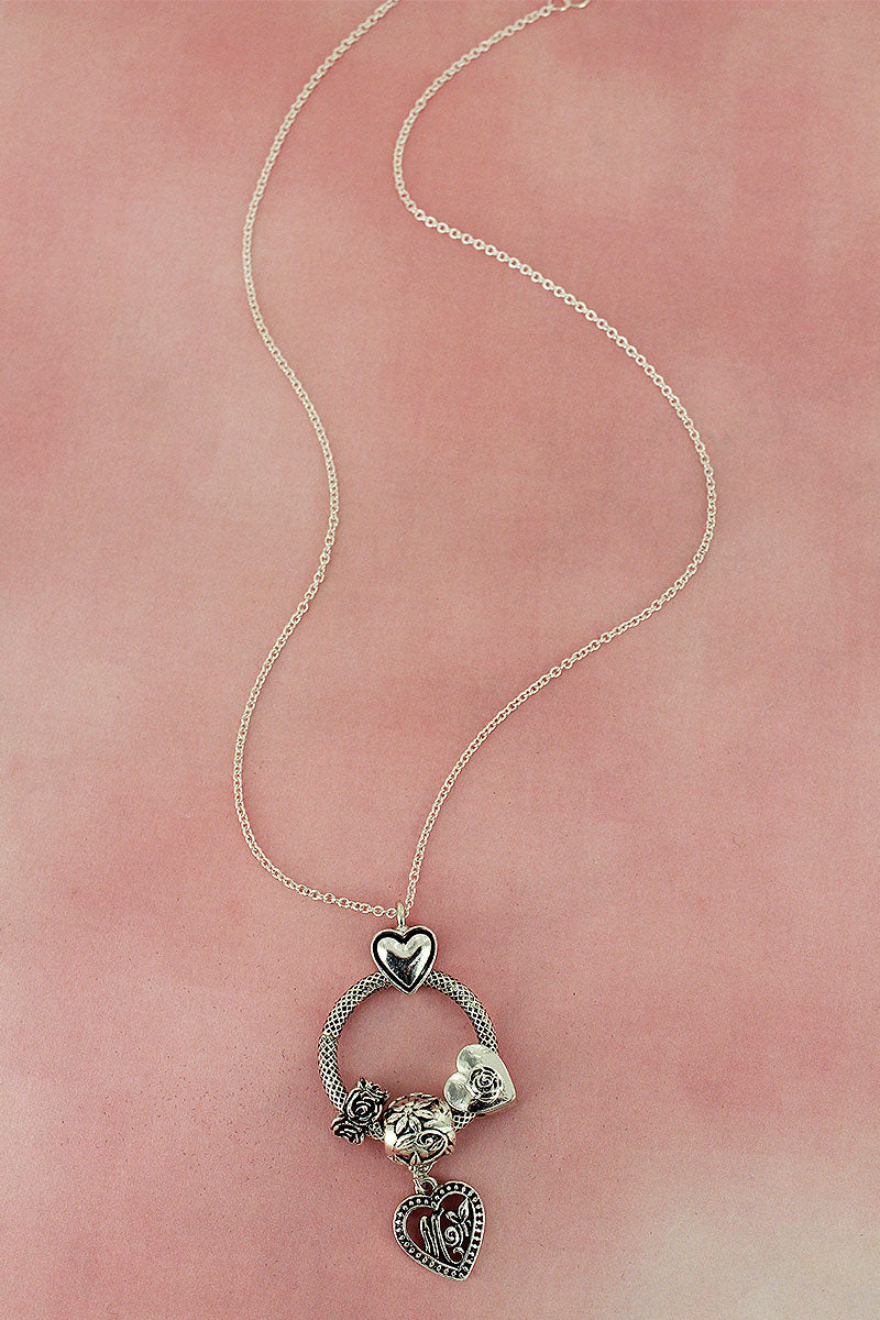 Silvertone Mom Beaded Ring Pendant Necklace