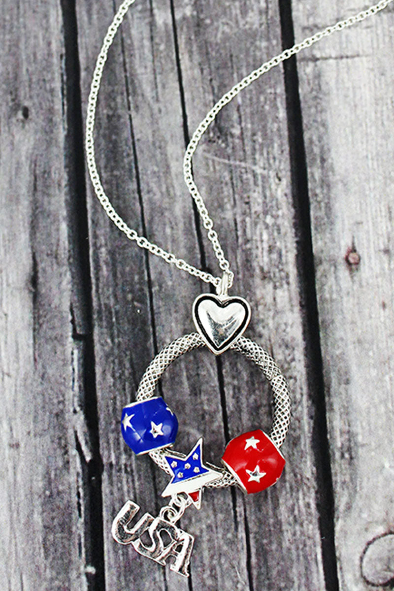 Silvertone and Patriotic 'USA' Beaded Ring Pendant Necklace