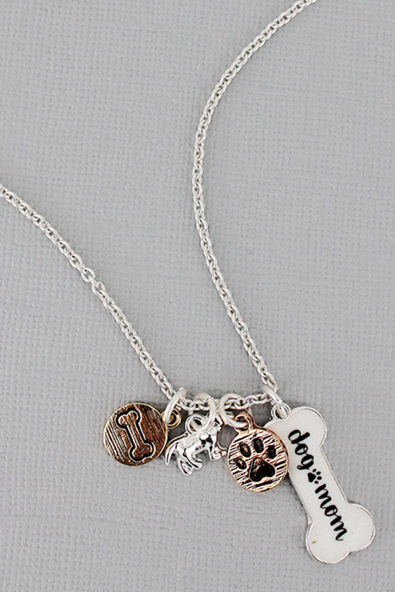 Silvertone and White 'Dog Mom' Bone Charm Necklace