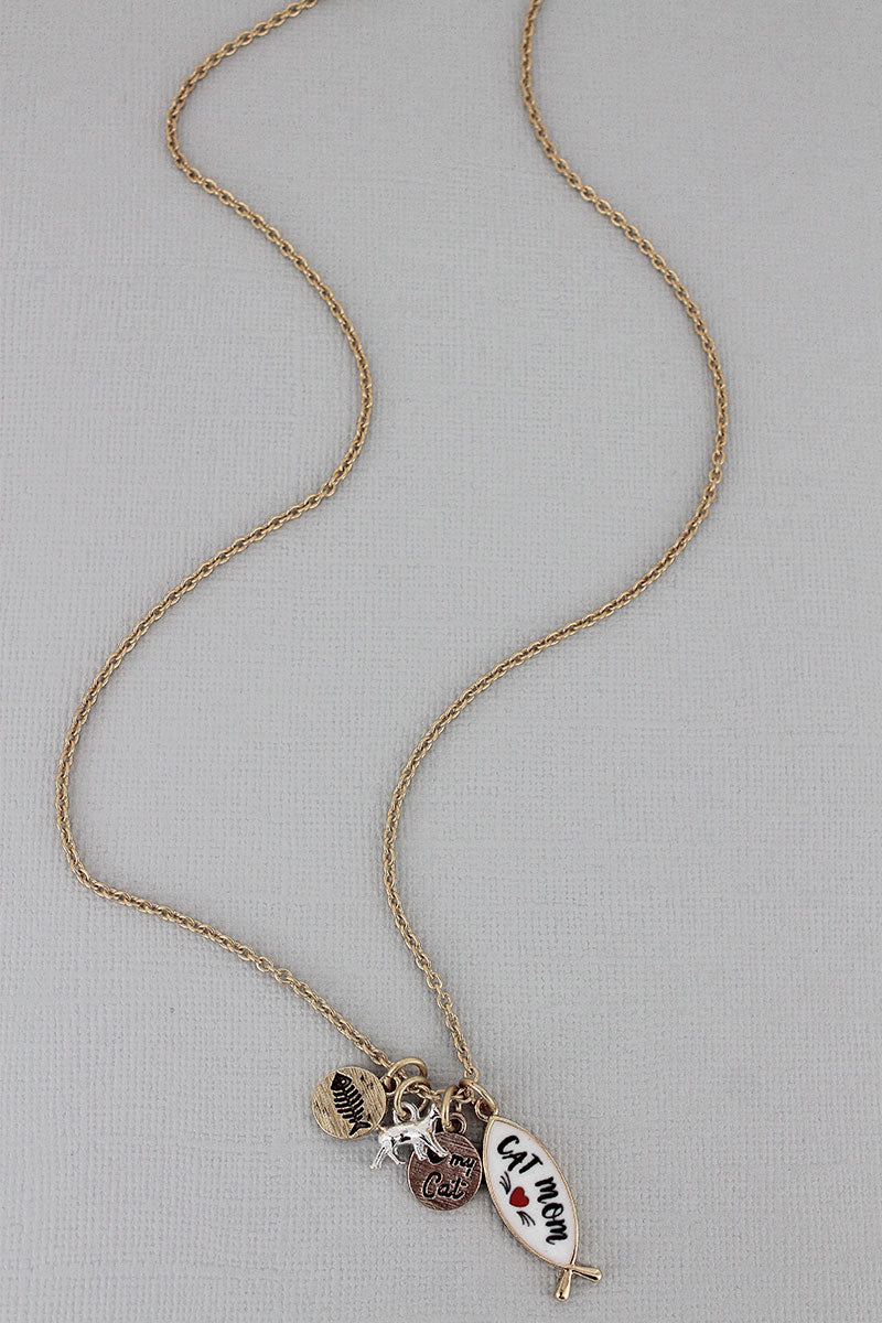 Goldtone and White 'Cat Mom' Fish Charm Necklace