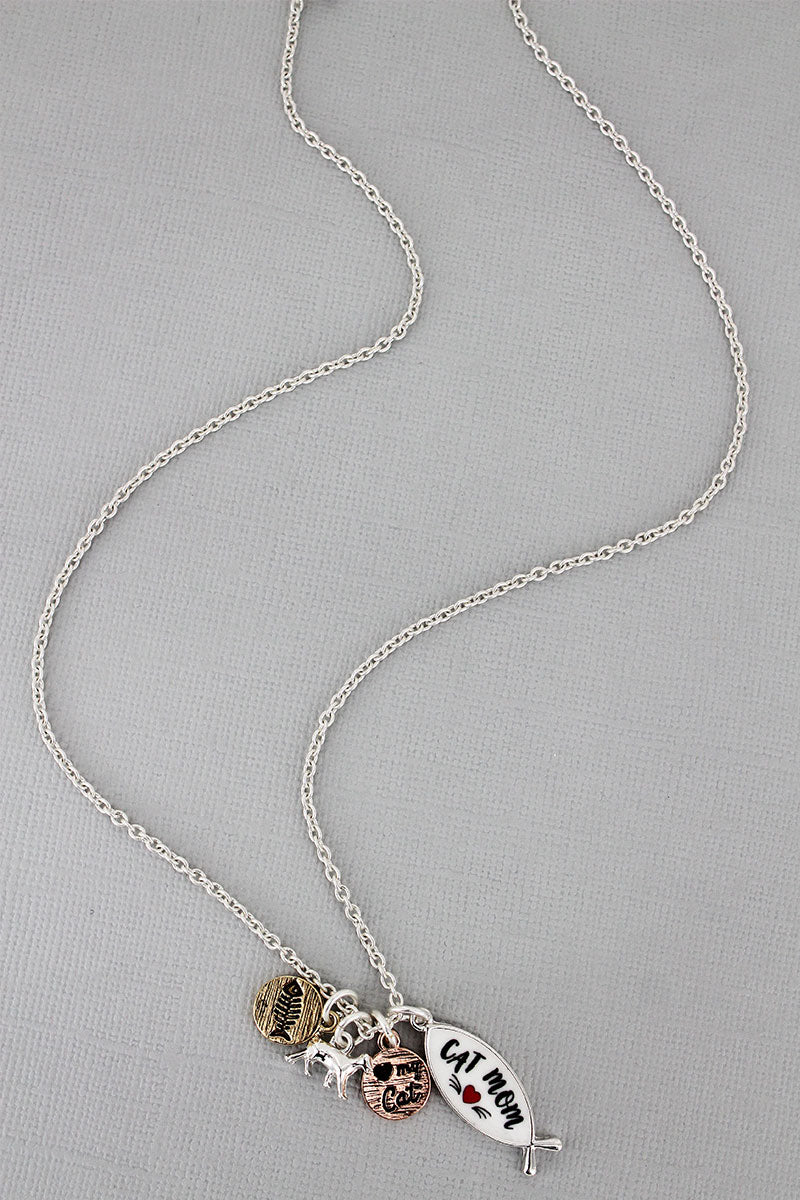 Silvertone and White 'Cat Mom' Fish Charm Necklace