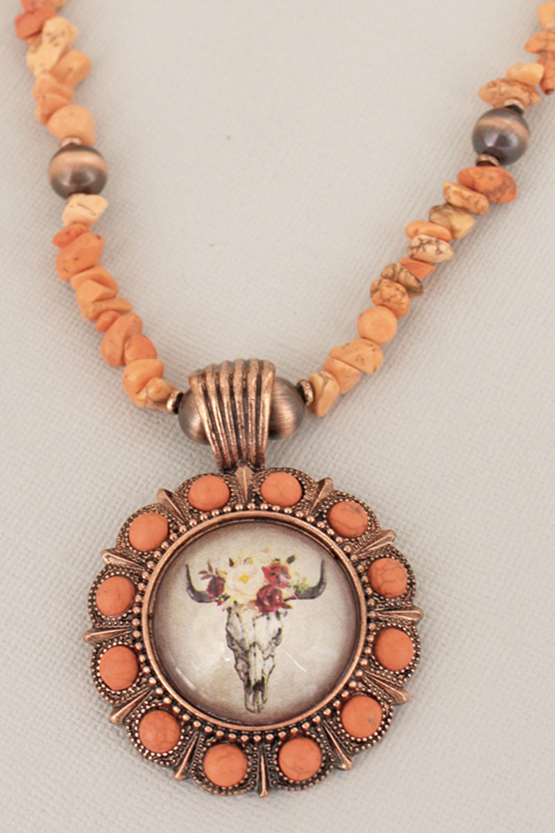 Floral Steer Bubble Concho Orange Chip Bead Necklace