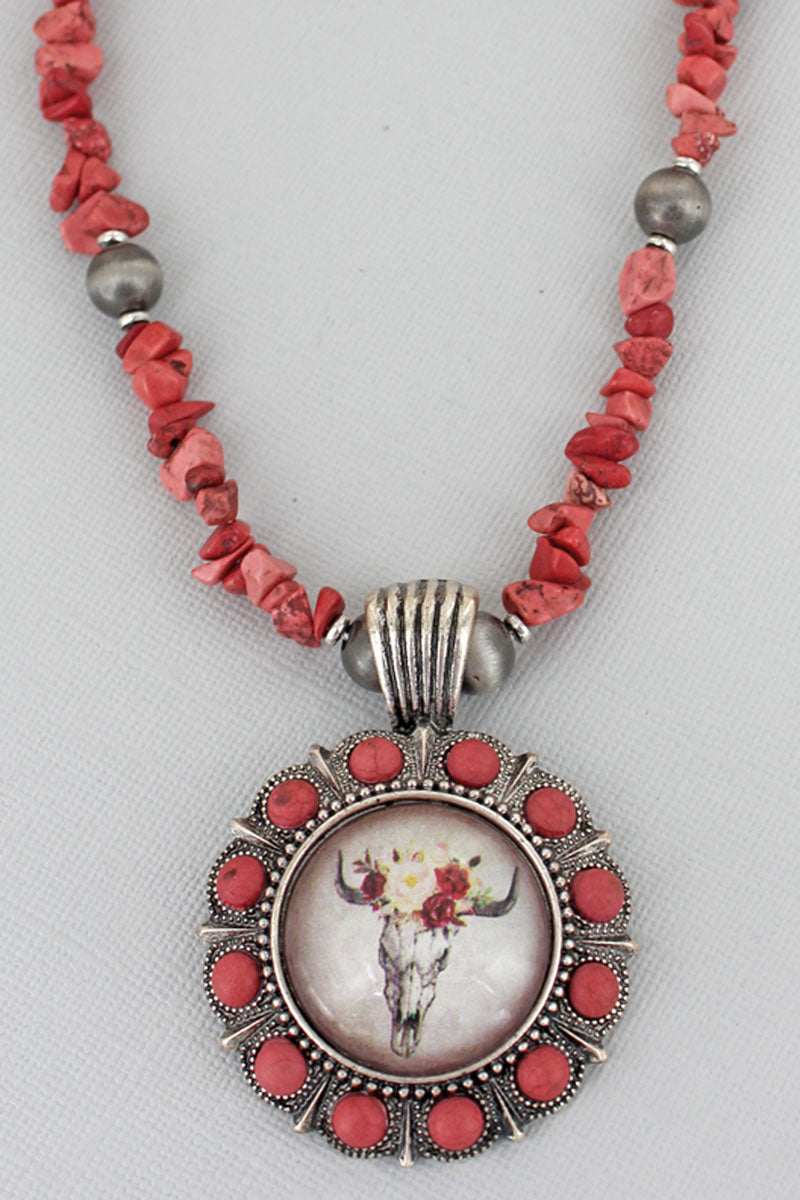 Floral Steer Bubble Concho Red Chip Bead Necklace