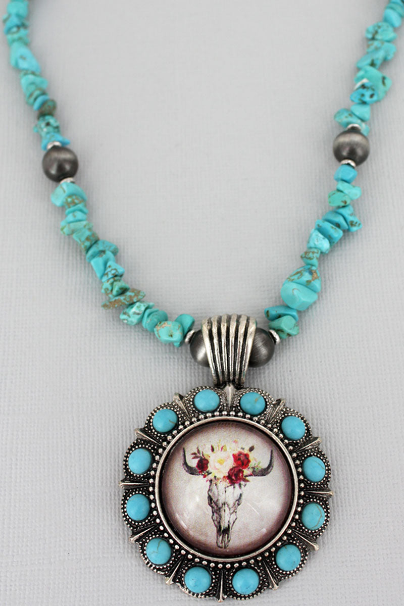Floral Steer Bubble Concho Turquoise Chip Bead Necklace