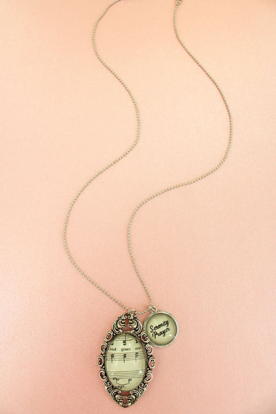 Silvertone Serenity Prayer Hymn Bubble Pendant Necklace